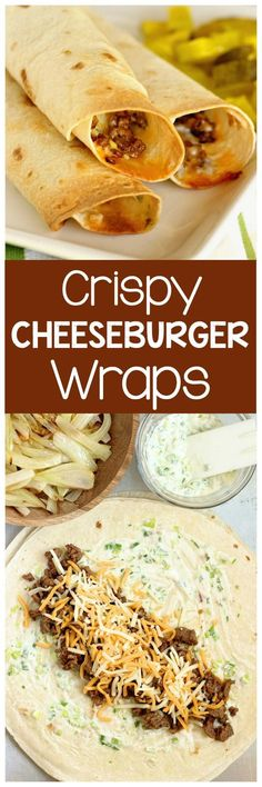 Crispy Cheeseburger Wraps - A crisp wrap filled all the good cheeseburger fixings including smothered onions and a garlic and green onion mayo.- use low carb tortillas for a low carb alternative! Low Carb Recipes, Beef Recipes, Cooking Recipes, Healthy Recipes, Cooking Tips, Easy Recipes, Cheeseburger Wraps, Good Food, Natural Remedies