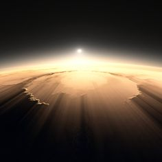 Digital rendering of Martian crater Schiaparelli with low Sun. This absolutely astounding image is accurate in every detail, but not an actual photo. It is a computer rendering made using landscape data collected on Mars by the Mars Orbiter Laser Altimeter (MOLA). But a perfectly plausible view, nonetheless.