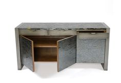 Jan Buffett Collection: Harris Rubin  Product Description With closed sides and drawers (Three drawers in apron) Various sizes available. Steel Base finish: Gunmetal, Bronzed, Rust or Blackened. Top: Glass Mosaic Tile