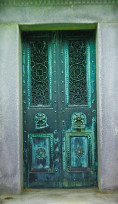 Gorgeous doubledoor with varied blue and green patina