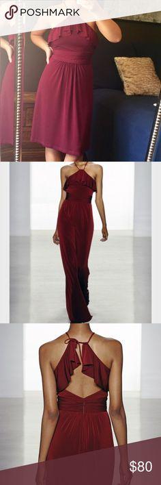 "Amsale stretch jersey bridesmaid dress G854J High neck open back flutter detail dress.  Comfy stretch jersey fabric.  Fits between 4-6. Burgundy ""wine"" Amsale Dresses Backless"