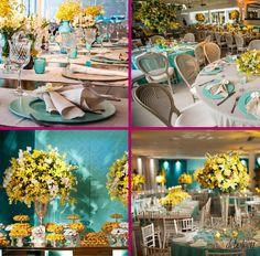 Decoração - Azul Tiffany e Amarelo