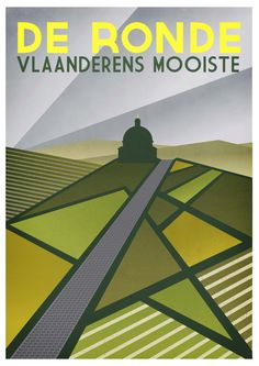Cycling Art Print Tour of Flanders Size A3 door TheHandmadeCyclist