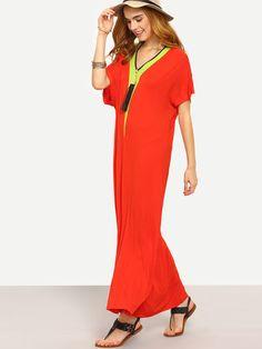 Red V Neck Short Sleeve Shift Maxi Dress -SheIn(Sheinside) Mobile Site