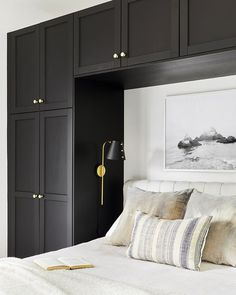 This Guest House Is a Lesson in Small-Space Design Tour of a modestly sized guest house that doesn't compromise on style. From the kitchen to the bedroom, it's a lesson in small-space design. White Bedroom Design, Bedroom Closet Design, Bedroom Wardrobe, Home Bedroom, Bedroom Furniture, Small Bedroom Designs, Bedroom Design Minimalist, Adult Bedroom Design, Bedroom Designs For Couples