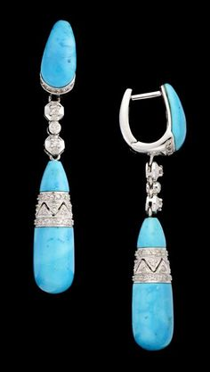 18 karat white gold 'Persian' turquoise and diamond drop earrings   art deco style   Bright blue turquoise accented by petite diamond chips, half hoop post backing.
