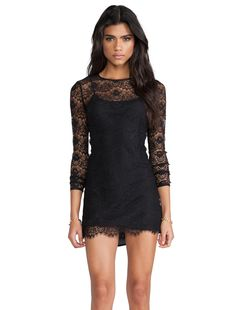 Love Magic Long Sleeve Dress in Black Lace