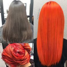 Deep Brown to Bright Orange! Orange Hair Bright, Vibrant Hair Colors, Edgy Hair Colors, Hair Color Swatches, Cheveux Oranges, Copper Balayage, Coarse Hair, Ginger Hair, Green Hair