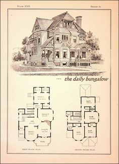 Modern Cottages::J. Victorian House Plans, Vintage House Plans, Victorian Homes, Building Plans, Building Design, Building A House, Architecture Drawings, Architecture Plan, Sims 4 Houses