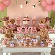 Cute Dessert Table for Baby (girl) Shower Mesa Dulces Baby Shower, Fiesta Baby Shower, Baby Shower Games, Shower Party, Baby Shower Parties, Shower Gifts, Baby Showers, Party Deco, Deco Buffet