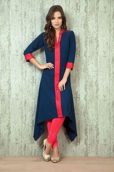 Asymmetric georgette kurti from New Kurti Designs, Kurtha Designs, Simple Kurti Designs, Kurta Designs Women, Salwar Designs, Kurti Sleeves Design, Sleeves Designs For Dresses, Dress Neck Designs, Sleeve Designs