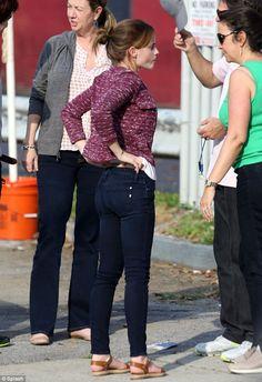 Emma Watson, jeans messy bun sweater