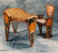 Woodshow Gallery 1996   Best of Show 1996  Tom Calhoun, Ku'uonehanau, Lady's Writing Desk and Chair set