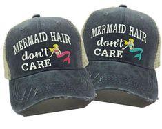 4c1f0687ed9de Mermaid Hair Don't Care Custom Distressed Trucker Hat - Women's Trucker Hat  - Girl's Trucker Hat - Mermaid Trucker Hat