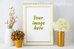 Frame Mockup gold and ivory style. Wedding Card Templates