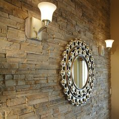 The New American Home 2011. This photo features Manufactured Stone in Chiseled Ready Stack Spring Moss on the wall.