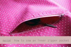 How to Sew an Inner Zipper Pocket Tutorial. A great way to add a nice looking interior zipper pocket to a bag or purse.
