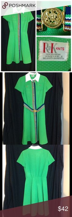 Vntg 60s or 70s bright green dress Bright green polyester dress with striped detail and striped belt.  White collar.  Bust 36 inches,  waist 26 inches.  Length 42 inches.  Easy to care for.  Machine wash gentle and line dry. Vintage Dresses Midi