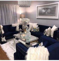 Trendy blue sofa with neutral scheme and silver accessories with mirrors and steal Silver Living Room, Blue Living Room Decor, Glam Living Room, Elegant Living Room, Living Room Designs, Living Rooms, Blue Furniture, Living Room Furniture, Living Room Inspiration