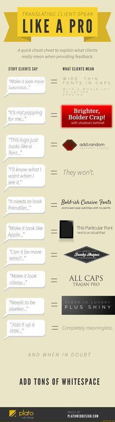 Graphic Translates Web Design Feedback into Plain English Translating client-speak like a pro.Translating client-speak like a pro. Web Design Trends, Web Design Blog, Graphisches Design, Logo Design, Website Design, Graphic Design Tips, Graphic Design Inspiration, Typography Design, Design Humor