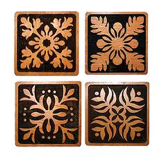 I understand it's engraved wood, but I love the colors and think I'll do something incorporating browns and blacks! Hawaiian Quilt Patterns, Hawaiian Pattern, Hawaiian Quilts, Hawaiian Designs, Hawaiian Art, Hawaiian Theme, Applique Patterns, Applique Quilts, Quilted Coasters