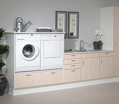 Love this idea. I get really tired of having to bend over so far to get things out of the washer and dryer. Makes my back hurt. My Back Hurts, Laundry Room Design, Washroom, Modern Kitchen Design, Washer And Dryer, Interior Inspiration, Washing Machine, Kitchen Decor, New Homes