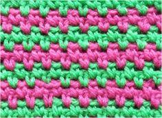 細編みのカラフル2色模様の編み方【かぎ針編み】How to single crochet