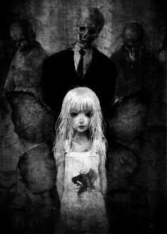 girl, creepy and monochrom anime bloody image on We Heart It Dark Anime, Arte Horror, Horror Art, Dark Fantasy Art, Dark Art, Creepy Art, Scary, Creepy Pics, Arte Emo