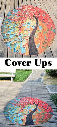 vivid flower tree oil painting chiffon round beach throw