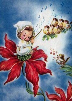 Christmas Bird, Christmas Past, Retro Christmas, Christmas Angels, Vintage Christmas Images, Vintage Holiday, Christmas Pictures, Vintage Images, Christmas Blessings