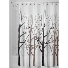 InterDesign Forest Shower Curtain - Gray/Black