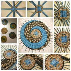 New Totally Free circular weaving projects Thoughts Gorgeous use of color and pattern. Circular Weaving, Bamboo Weaving, Willow Weaving, Paper Weaving, Weaving Art, Loom Weaving, Newspaper Basket, Newspaper Crafts, Raffia Crafts