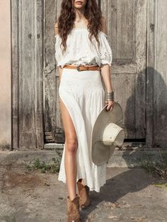 Shop White Off The Shoulder Crochet Top And Side Split Maxi Skirt from choies.com .Free shipping Worldwide.$44.99