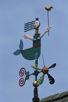 North America Print featuring the photograph A Colorful Mermaid Shaped Weather Vane by Darlyne A. Murawski