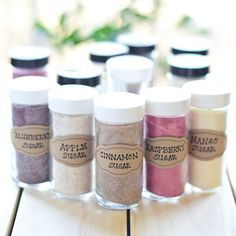 DIY Flavored Sugars (fun holiday gift for the foodie in your life) Just Putzing Around the Kitchen Homemade Spices, Homemade Seasonings, Homemade Butter, Homemade Baby, Spice Jars, Spice Mixes, Spice Blends, Infused Sugar, Infused Water