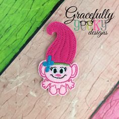 Baby Troll Princess (FullBody) Feltie ITH Embroidery Design 4x4 hoop (and larger)