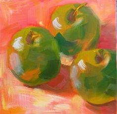 "Daily Paintworks - ""Green Apples"" by Laura Buxo"