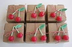 Cherry Lollies, packaged inside is a cherry coffee crumb cake muffin.