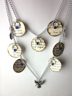 Book page necklace, literary necklace, Book jewelry, paper bead. $17.75, via Etsy.