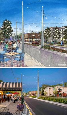 Streetscape Design By Wolff Landscape Architecture. Rendering By Bruce Bondy