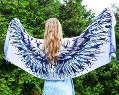 Blue Wings Scarf, Bohemian Shawl, Boho Scarf, Bird scarves, Fantas art