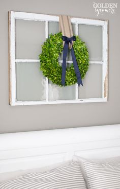 Christmas Boxwood Wreath...hang on large white rectangular mirror in foyer instead of a window
