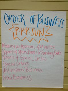 Learning P-LAW. Roberts Rules for Order of Business. RRRSUN (Triple R SUN)