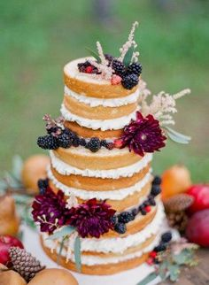 Naked Layered Cake with Berries and Flowers @Lisa Phillips-Barton Phillips-Barton Damman-Sharrow Flour Bakery