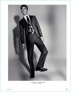 Appearing in a fashion editorial for GQ Style Germany, Clément Chabernaud dons a Canali suit.