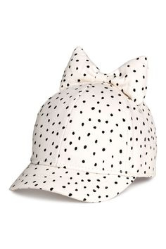 Cap with Bow | Natural white/dotted | KIDS | H&M US