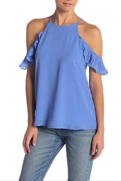 2eb37d0f6f56df Nwt Parker Blue Dotty Lace Cold Shoulder Blouse NWT in 2018