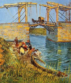 The Langlois Bridge at Arles with Women Washing 1    Artist: Van Gogh