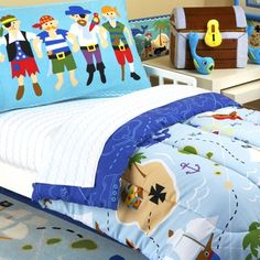 $59.15-$49.99 Baby Olive Kids BD-PIRA-216 Pirates Toddler Sheet Set - Take over the high seas with our Embellished Toddler Pirates sheets! They are decorated with rows of light Blue waves on a White background. The pillowcase features a crew of four pirates on a light teal background. The fitted sheet is made to fit a toddler bed/crib mattress. Toddler sheet set are 60/40 cotton poly blend, 210  ...
