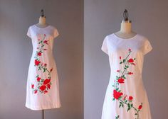 1960s Dress / Vintage 60s Embroidered Dress / Red by HolliePoint